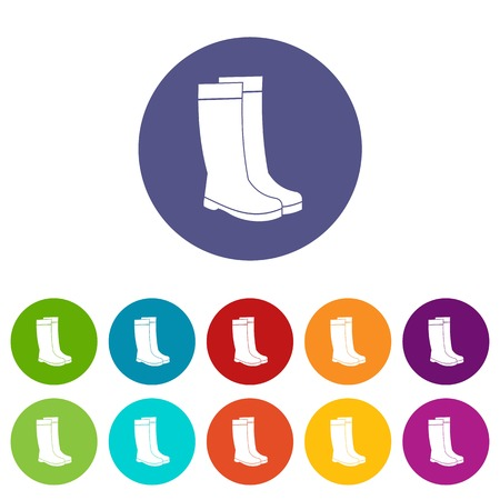 Rubber boots set icons Illustration