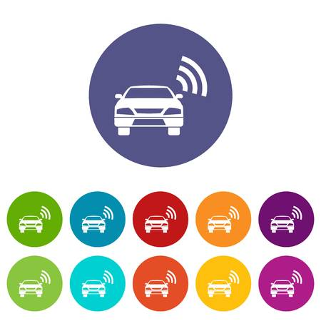 Car with wifi sign set icons