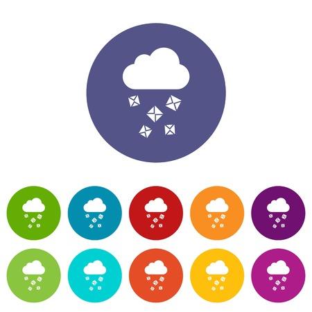 Cloud en hagel set iconen