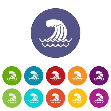 Tsunami wave set icons Illustration