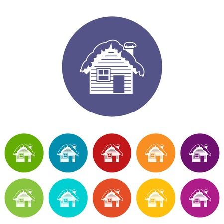 Wooden house covered with snow set icons Illustration