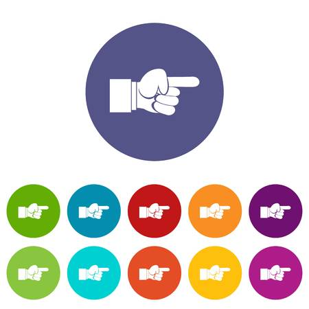 Pointing hand gesture set icons Illustration