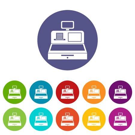 departmental: Cash register with cash drawer set icons