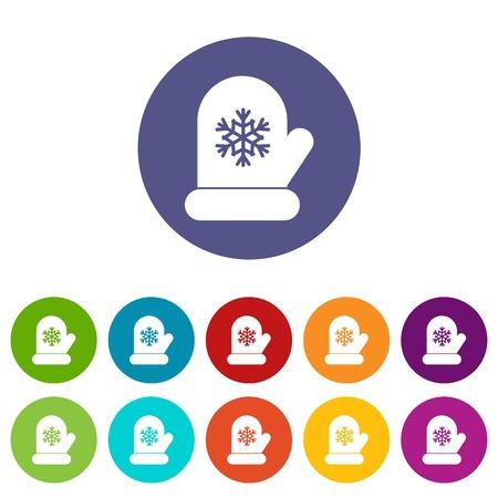 Mitten with white snowflake set icons