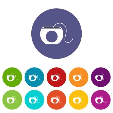 Dental floss set icons