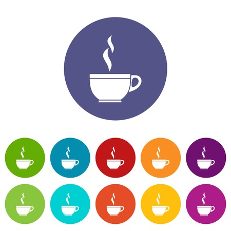 Glass cup of tea set icons