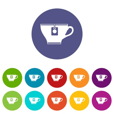 Cup with teabag set icons