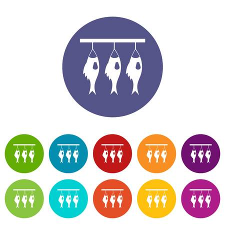 Three dried fish hanging on a rope set icons