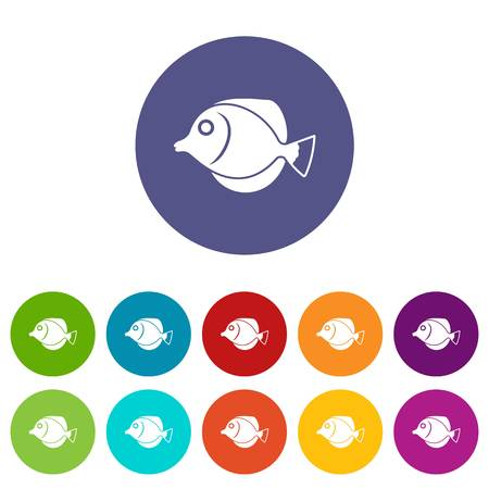 Tang fish, Zebrasoma flavescens set icons