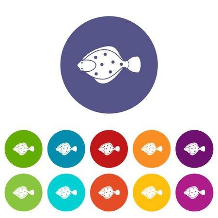 plaice: Flounder fish set icons