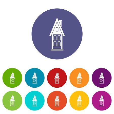 two storey: Two storey house with attic set icons Illustration
