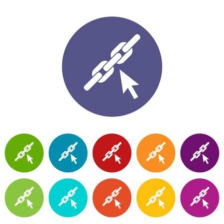 Chain link set icons Illustration