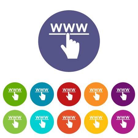 Hand cursor and website set icons