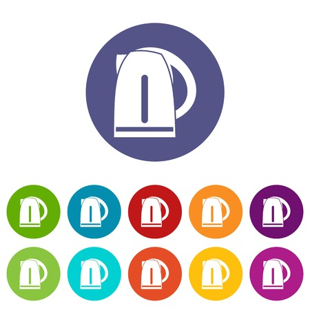electric kettle: Electric kettle set icons