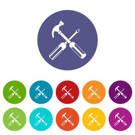 Hammer und Schraubendreher Set Icons Illustration