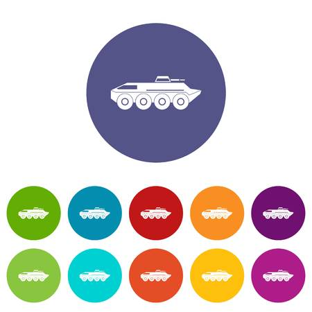 Armored personnel carrier set icons