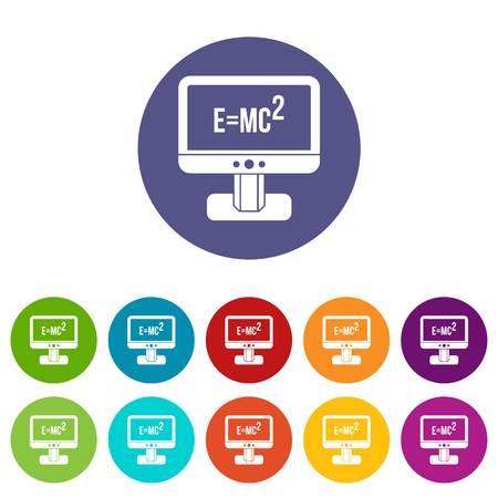 einstein: Monitor with Einstein formula set icons Illustration