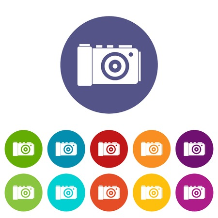 Photo camera set icons Illustration