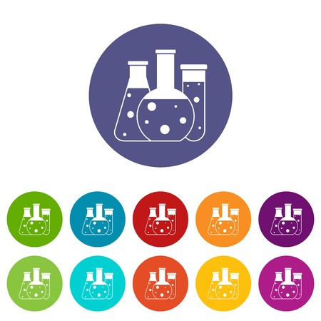Laboratory flasks set icons