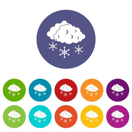 sleet: Clouds and snow set icons