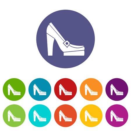 Women shoes on platform set icons Vektorové ilustrace