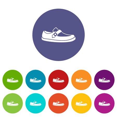 moccasin: Men moccasin set icons