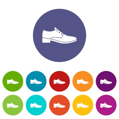 Men shoe set icons in different colors isolated on white background