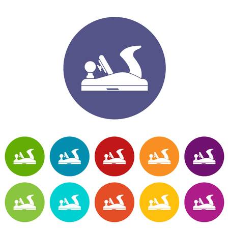 carver: Jack plane set icons in different colors isolated on white background Illustration