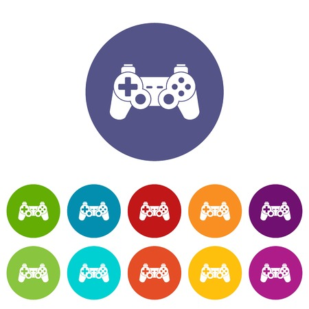 Game controller set icons in different colors isolated on white background Illustration