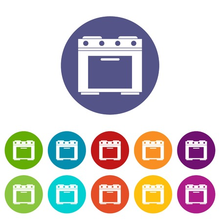 Gas stove set icons in different colors isolated on white background Illustration