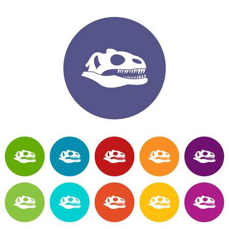 Skull of dinosaur set icons in different colors isolated on white background