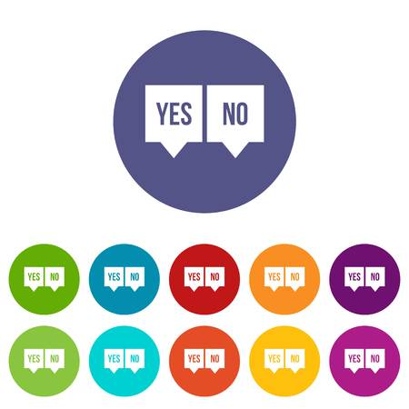 yes no: Signs of yes and no set icons
