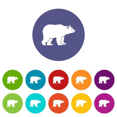 Bear set icons in different colors isolated on white background Иллюстрация