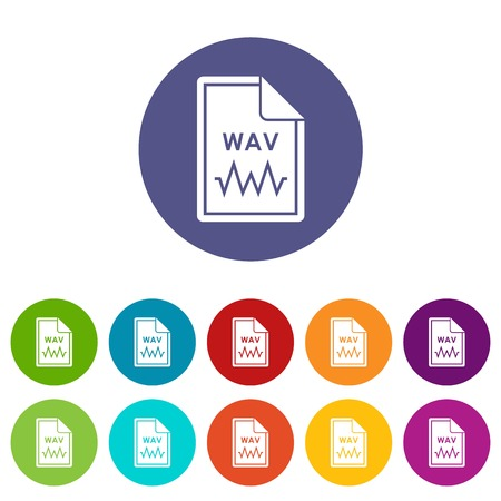 wav: File WAV set icons in different colors isolated on white background Illustration