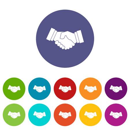 Handshake set icons in different colors isolated on white background
