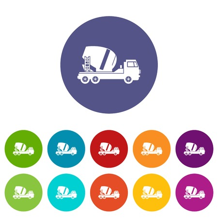 Concrete mixer truck set icons in different colors isolated on white background