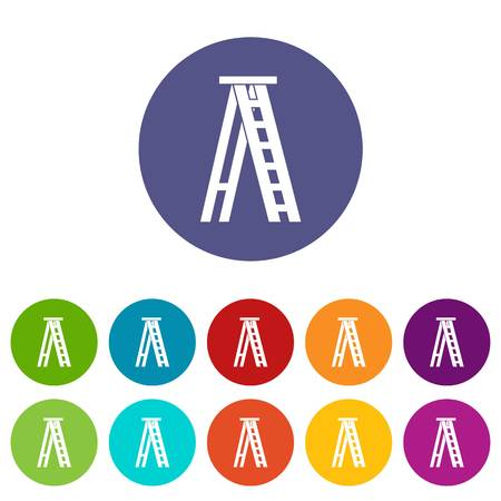 Stepladder set icons in different colors isolated on white background