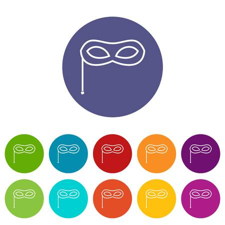 stage costume: Carnival mask set icons in different colors isolated on white background