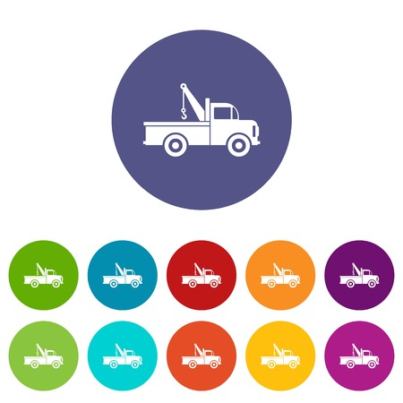 evacuate: Car towing truck set icons in different colors isolated on white background
