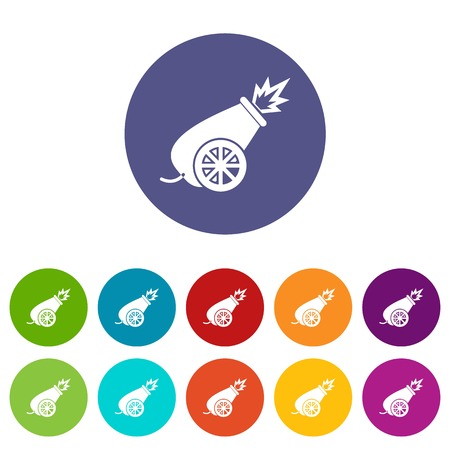 wheel guard: Circus cannon set icons in different colors isolated on white background