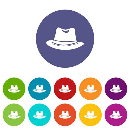 Hat set icons in different colors isolated on white background Illustration