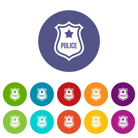 Police badge set icons in different colors isolated on white background
