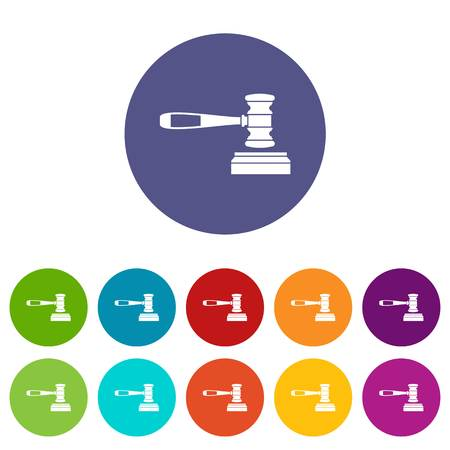 Judge gavel set icons in different colors isolated on white background Illustration