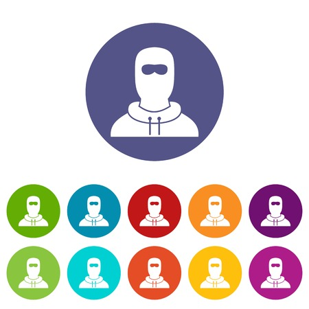 Man in balaclava set icons in different colors isolated on white background