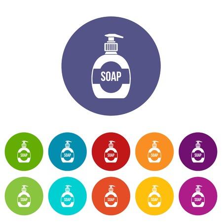 lavar platos: Botella de jabón líquido conjunto de iconos en diferentes colores aislados sobre fondo blanco Vectores