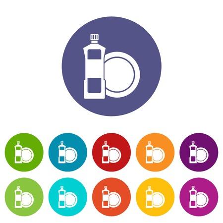 lavar platos: Lavar platos y detergentes iconos conjunto plato de líquidos de diferentes colores aislados sobre fondo blanco Vectores