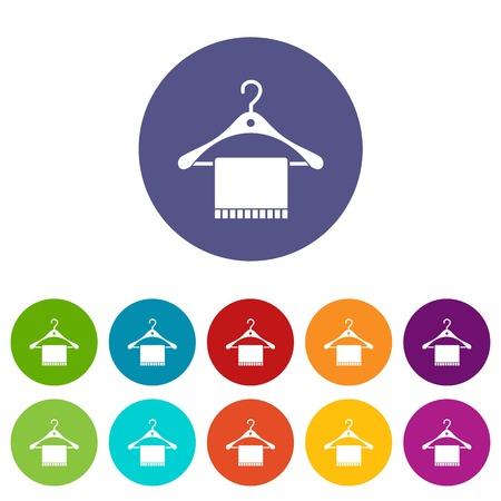 Bufanda en percha conjunto de iconos en diferentes colores aislados sobre fondo blanco Ilustración de vector