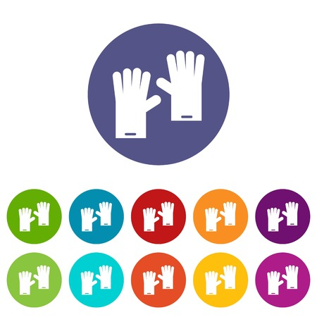 hand cuff: Rubber gloves set icons in different colors isolated on white background Illustration
