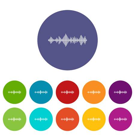 Musical pulse set icons in different colors isolated on white background
