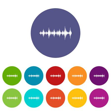 Music sound waves set icons in different colors isolated on white background Illustration